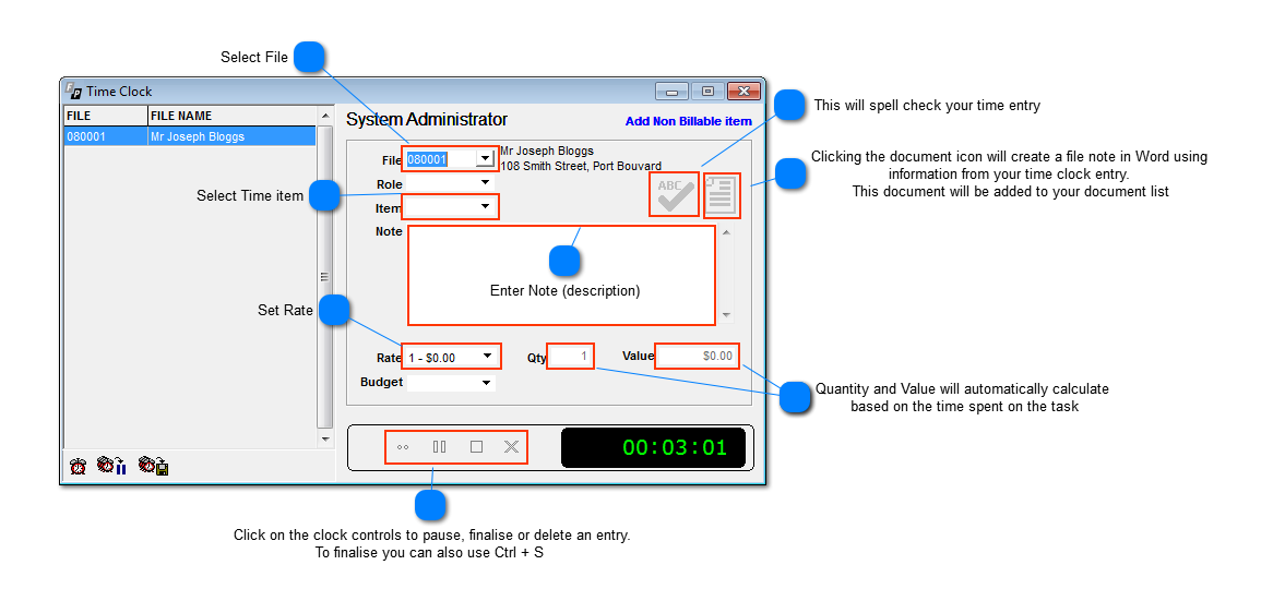 to add a time sheet entry by time clock