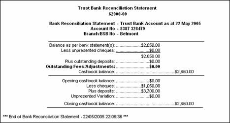 To reconcile a bank account for Trust account reconciliation template